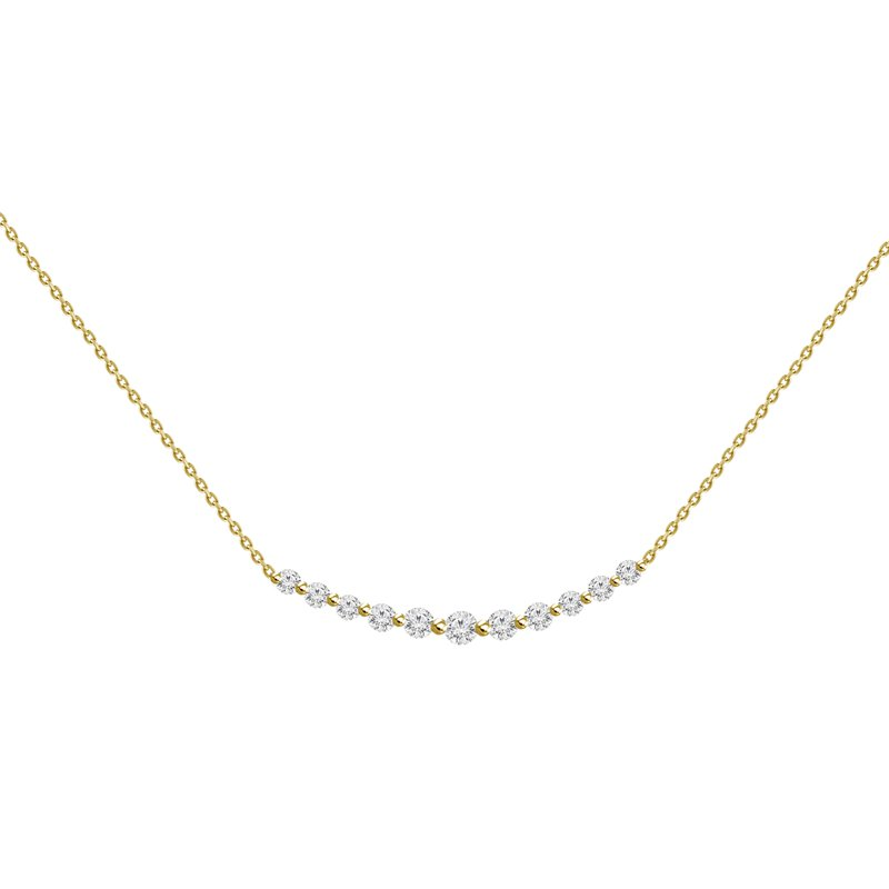 Small Diamond Curved Bar Necklace
