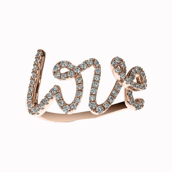 Diamond Script LOVE Ring
