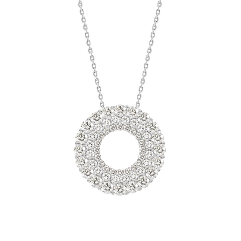 Double Row Diamond Circle Pendant