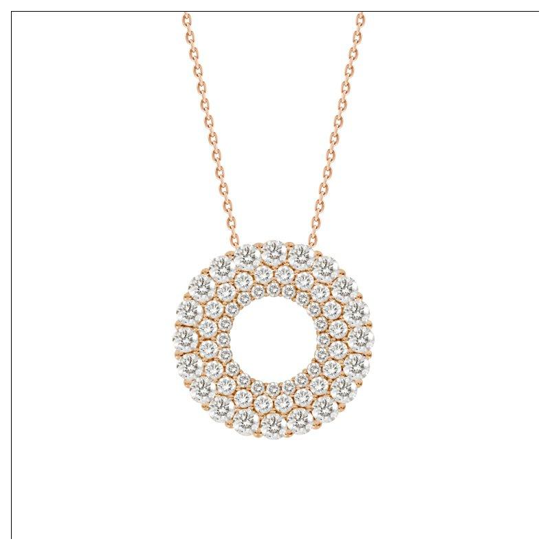 Double Row Diamond Circle Pendant