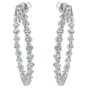 Large GAIL Signature Diamond Hoop Earrings
