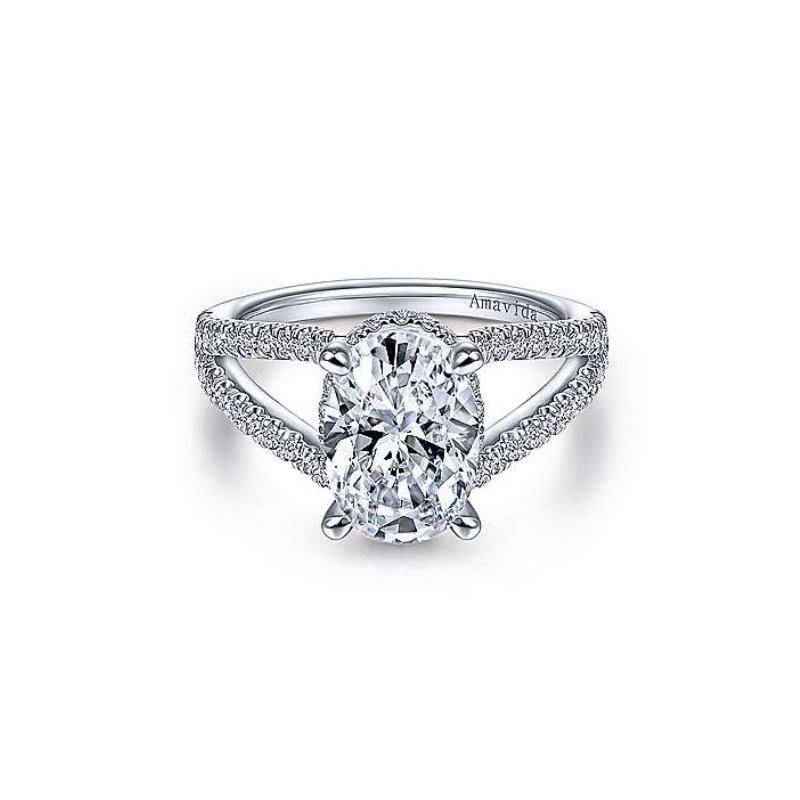 Gabriel Bridal Platinum Oval Split Shank Ring