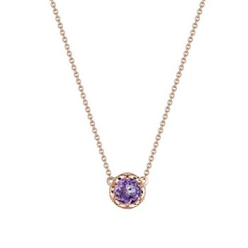 Petite Crescent Station Necklace featuring Amethyst