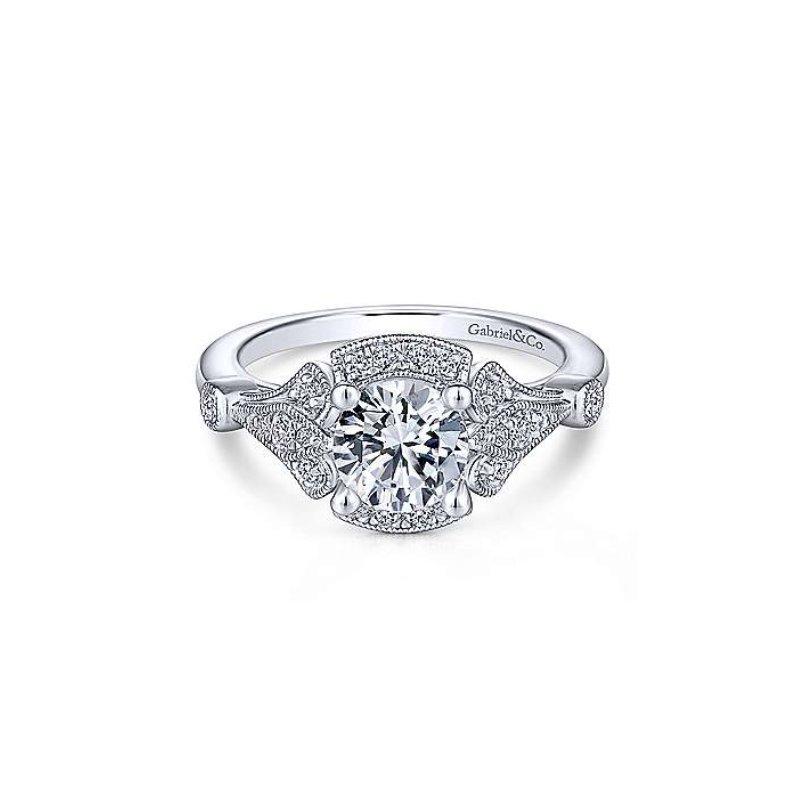 Gabriel Bridal Art Deco Halo Engagement Ring