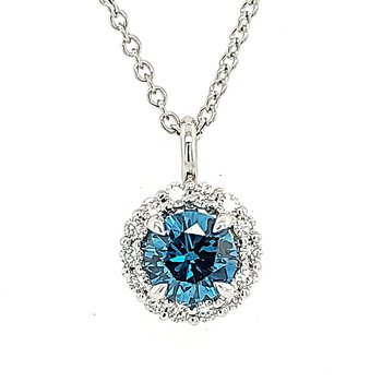 'Sky Blue' Diamond Pendat