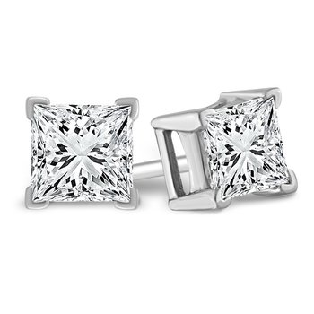 Princess Cut Studs: 0.75ctw