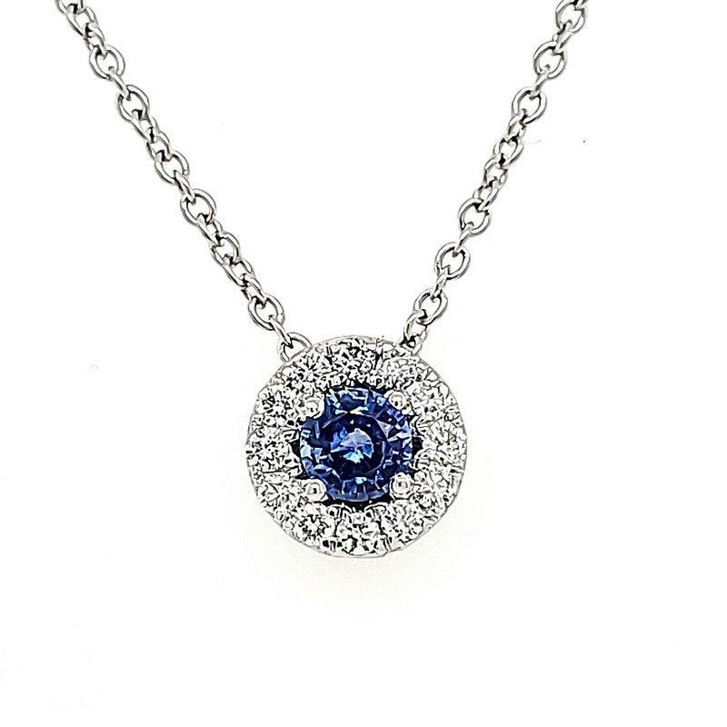 JDC Handcrafted Sapphire & Diamond Halo Pendant