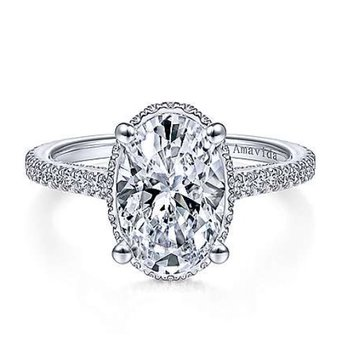 Platinum Oval Halo Ring