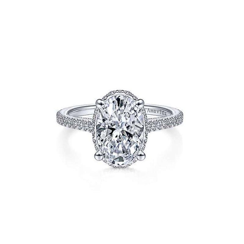 Gabriel Bridal Platinum Oval Halo Ring