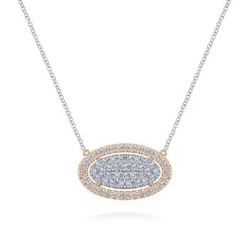 Oval Halo Diamond Pendant