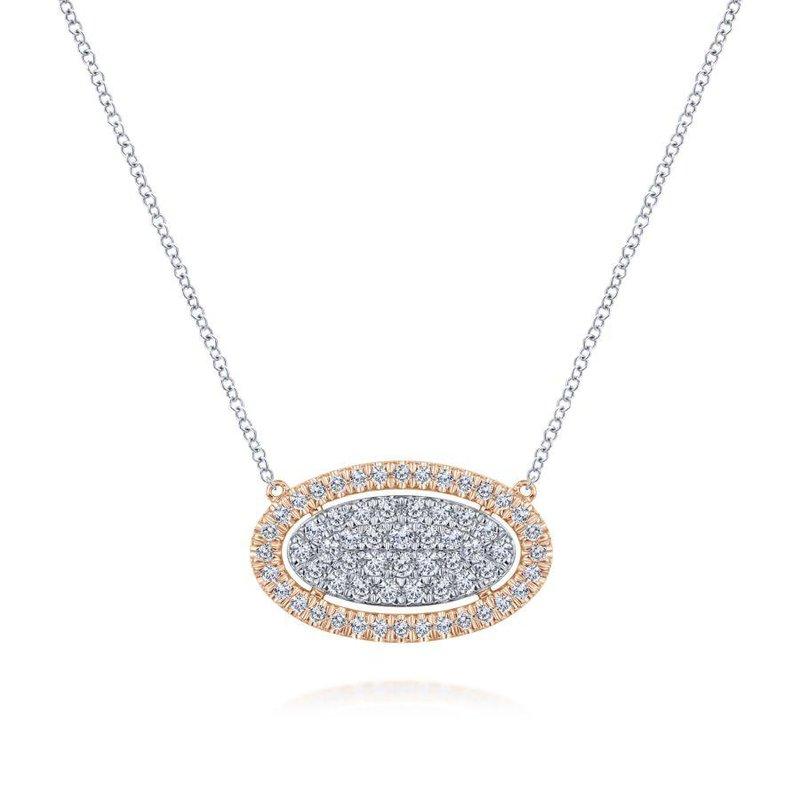 Gabriel Fashion Oval Halo Diamond Pendant