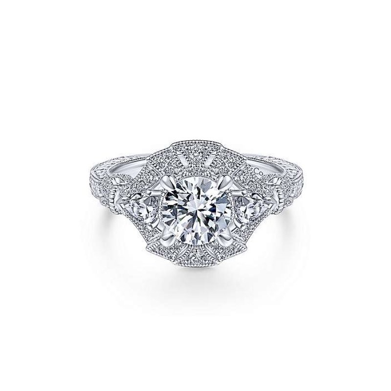 Gabriel Bridal Vintage Inspired Halo Ring