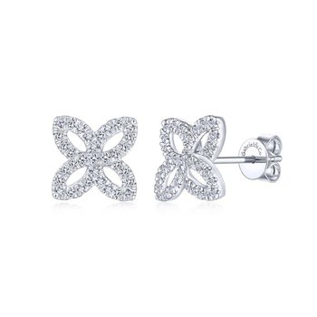 Open Floral Pave Diamond Studs