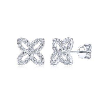 Open Floral Pave Diamond Studs