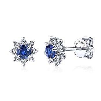 Blue Sapphire Starburst Earrings