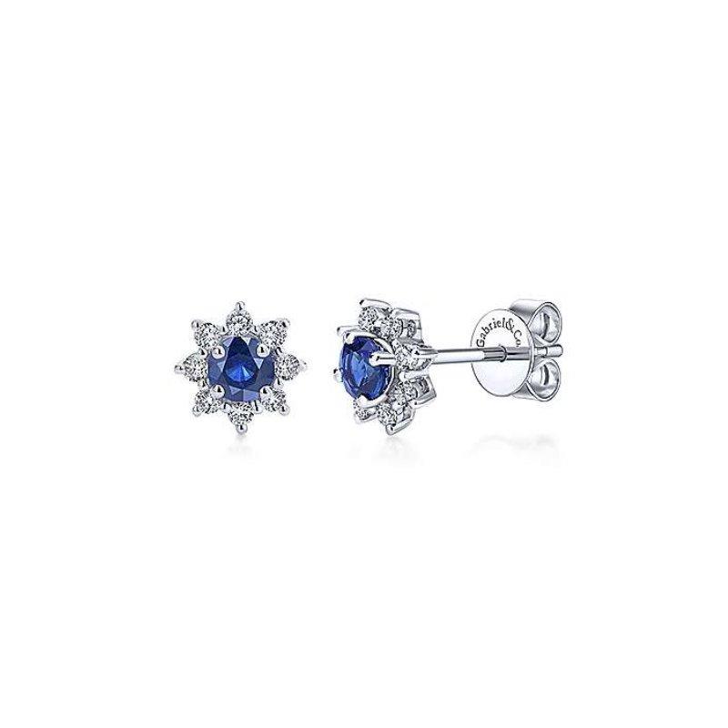 Gabriel Fashion Blue Sapphire Starburst Earrings