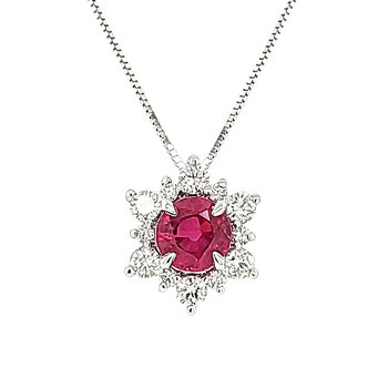 Ruby Star Halo Pendant