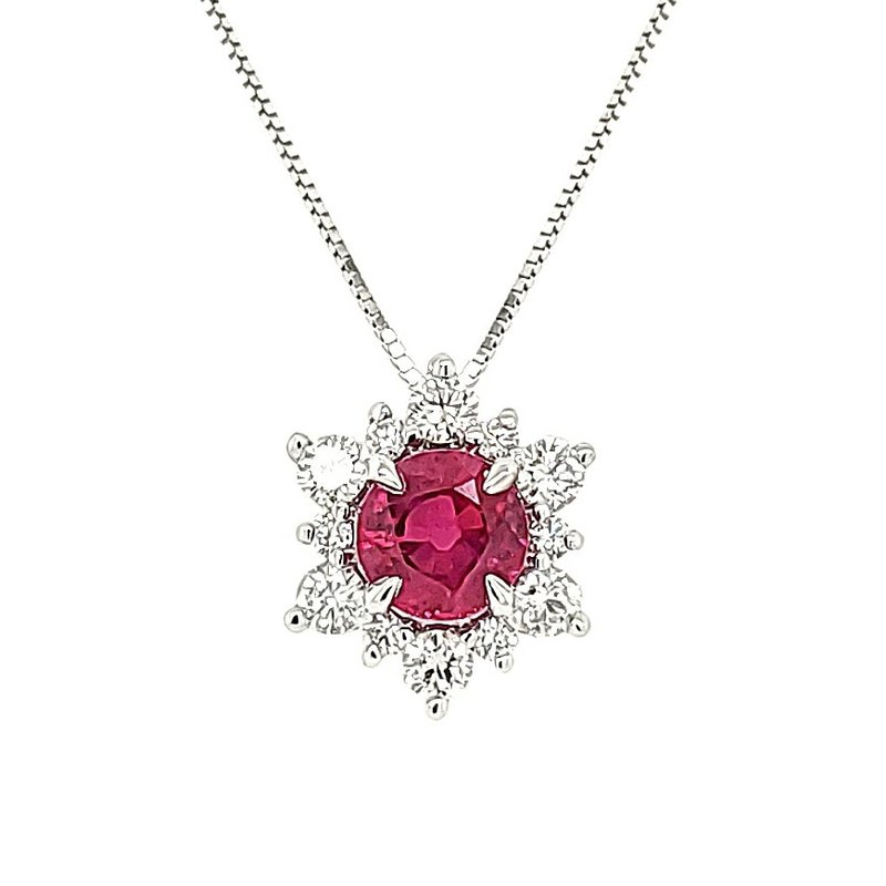 JDC Handcrafted Ruby Star Halo Pendant