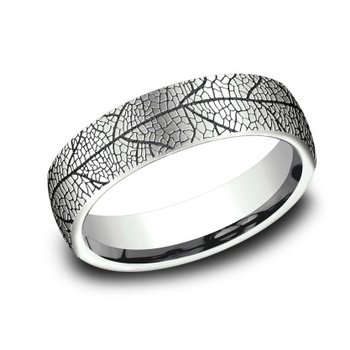 Black Rhodium Leaf Engraved Band