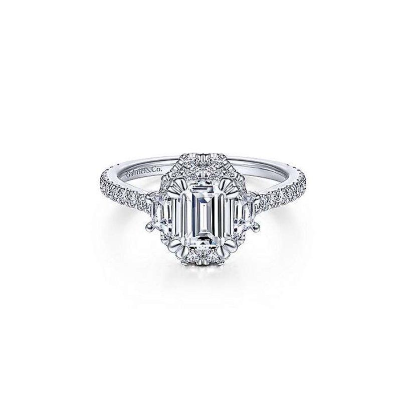Gabriel Bridal Art Deco Halo Ring