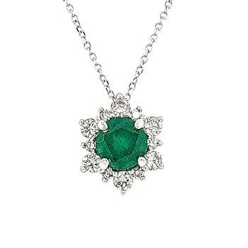 Emerald Star Halo Pendant