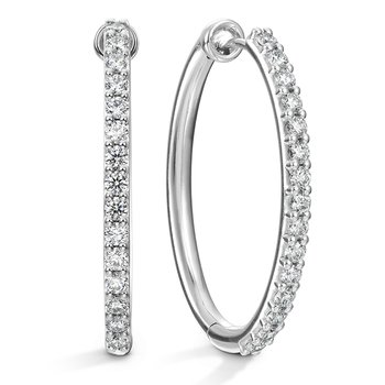 Oval Classic Diamond Hoop - Large
