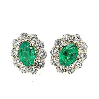 Emerald and Diamond Halo Earrings