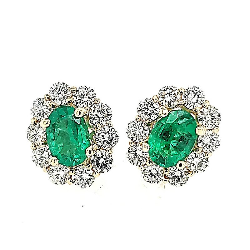 JDC Handcrafted Emerald and Diamond Halo Earrings