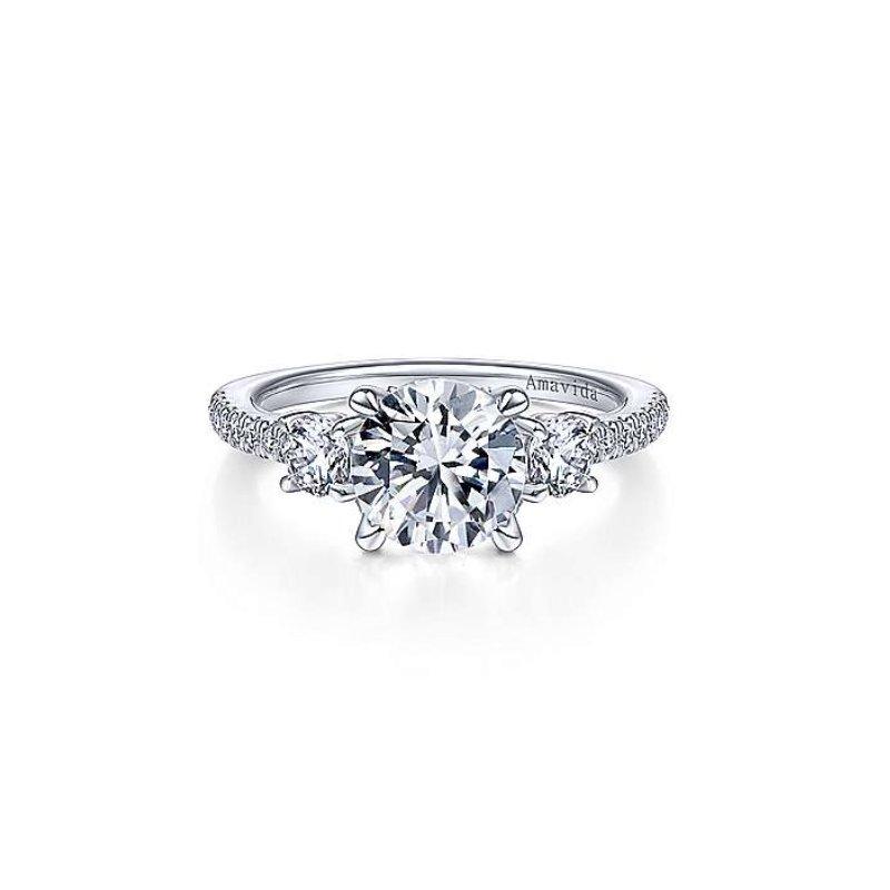 Gabriel Bridal Platinum Three Stone Ring