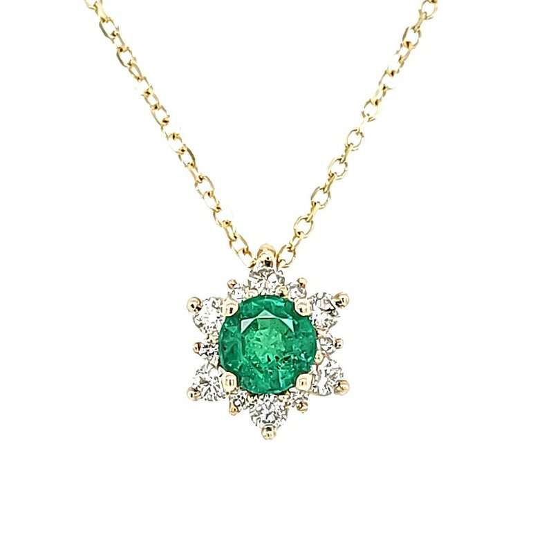 JDC Handcrafted Emerald Star Halo Pendant
