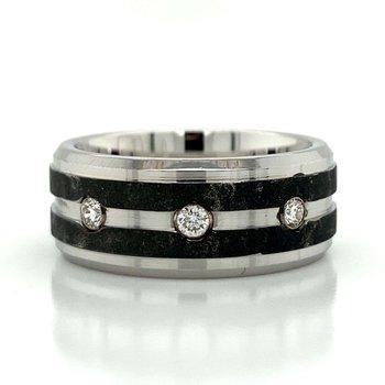 Cobalt Chrome & Tungsten Diamond Band