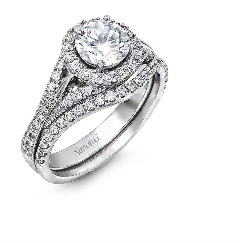 Simon G 18K White Gold Diamond Wedding Set