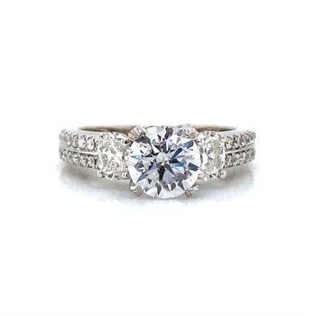 18k White Gold 3 Stone Engagement Ring