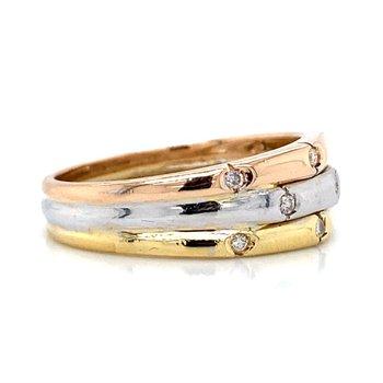 18k White, Yellow, & Rose Gold Band