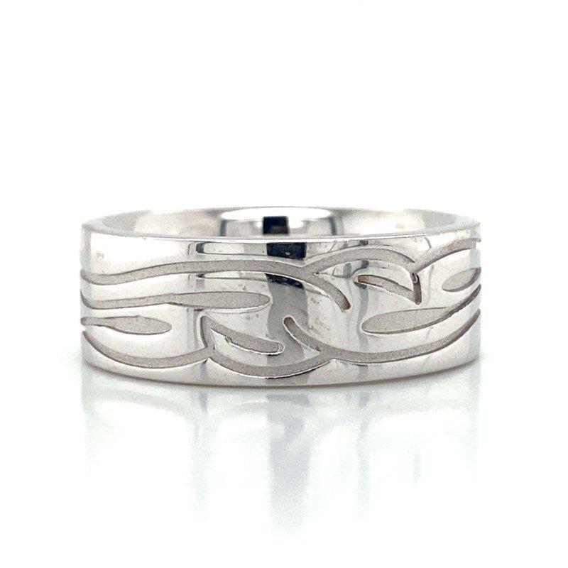 Robert Palma Designs 14k White Gold Carved Band
