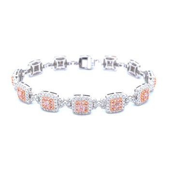 18k White Gold Pink Diamond Bracelet