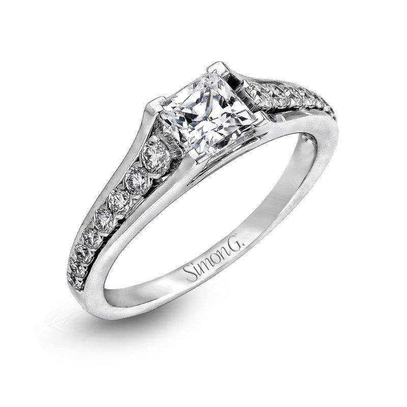 Simon G 18k White Gold Tapered Design Ring