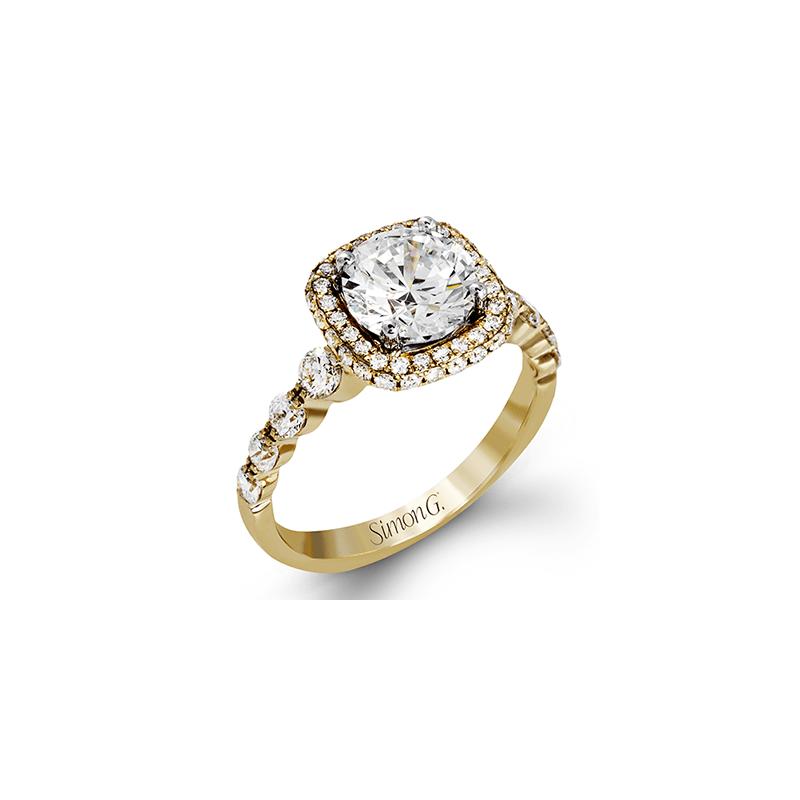 Simon G 18k Yellow Gold Halo Ring
