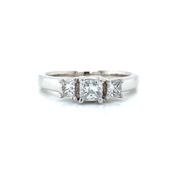 14K Three-Stone Diamond Ring