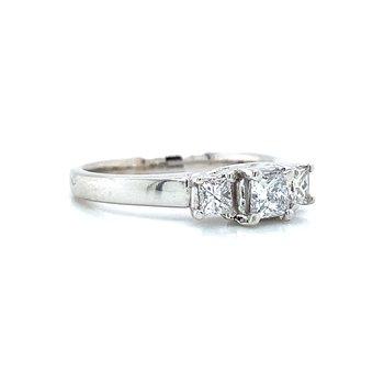 14K Three-Stone Diamond Ring
