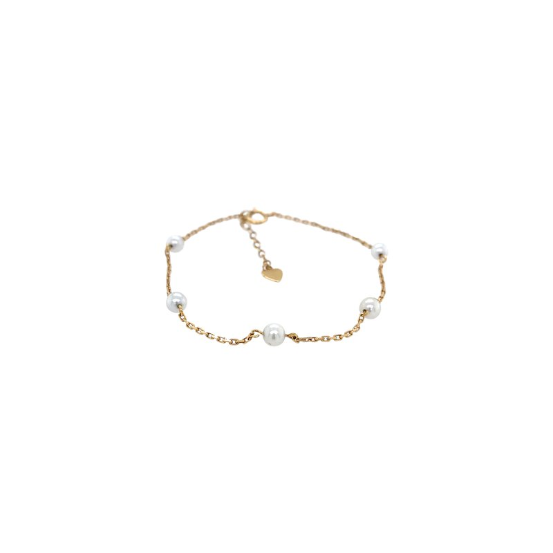 Robert Palma Designs 14k Yellow Gold Pearl Link Bracelet