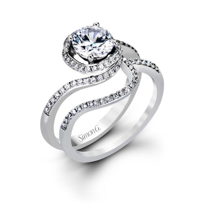 Simon G 18k White Gold Swirl Ring