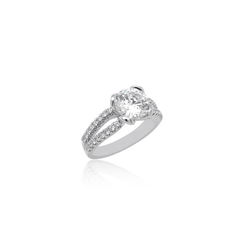 Simon G 18k White & Yellow Gold Engagement Ring