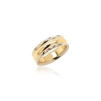 18k White & Yellow Gold Band