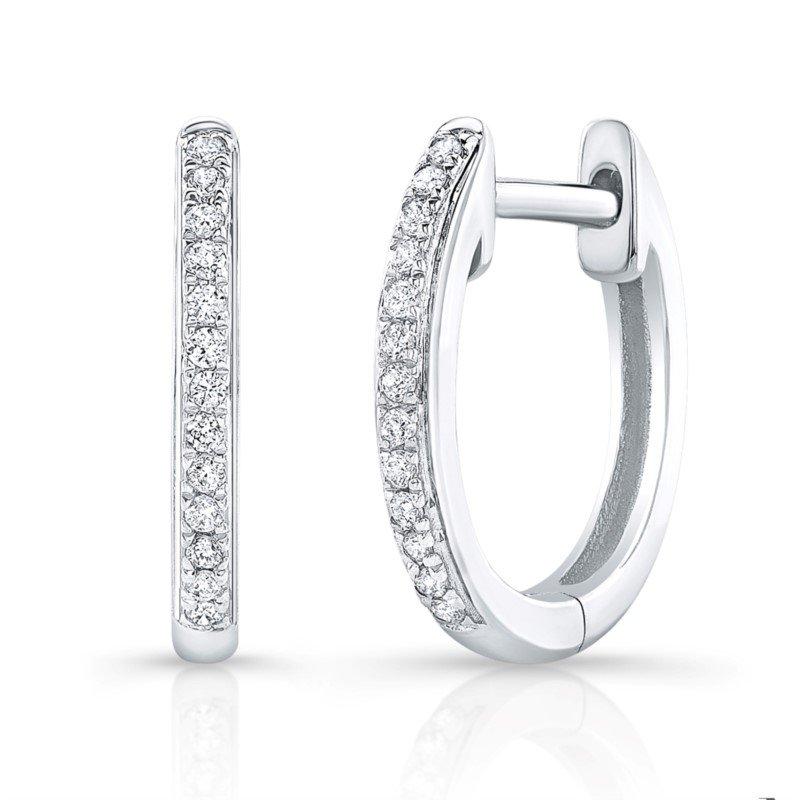 Robert Palma Designs 14K White Gold Diamond Huggie Hoop Earrings