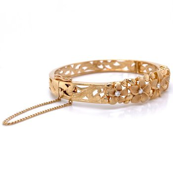 Plumeria Diamond Bangle