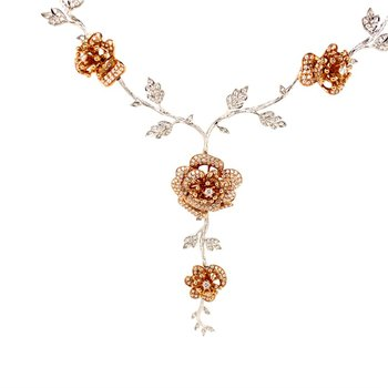 18k White & Rose Gold Diamond Rose Necklace