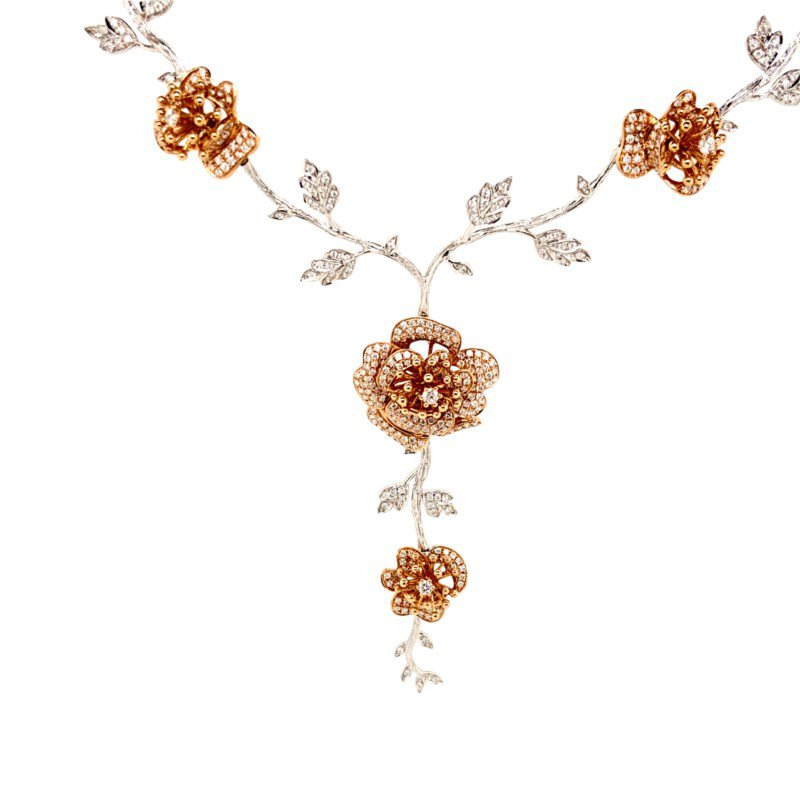 Robert Palma Designs 18k White & Rose Gold Diamond Rose Necklace
