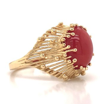 14k Yellow Gold Red Oval Ring