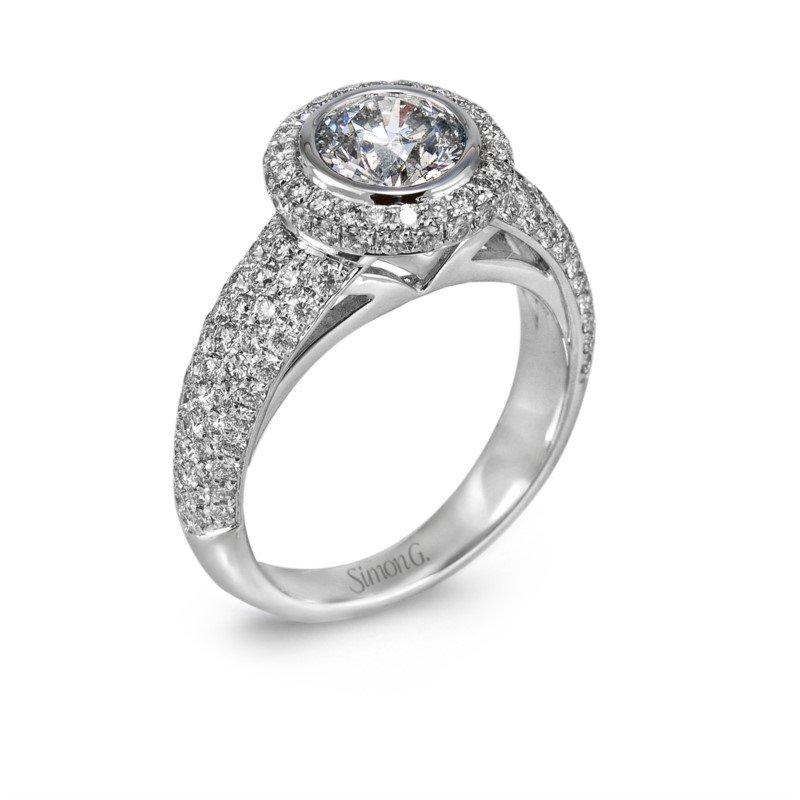 Simon G 18k Halo Engagement Ring